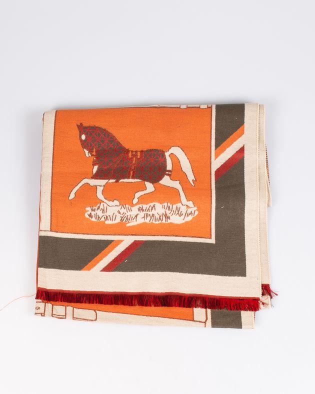 Esarfa-portocalie-cu-imprimeu-cai-M0572304011