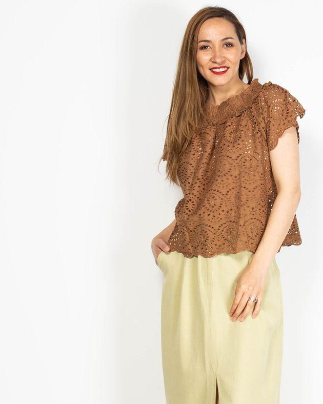 Bluza-perforata-din-bumbac-cu-elastic-la-baza-gatului-N91942048