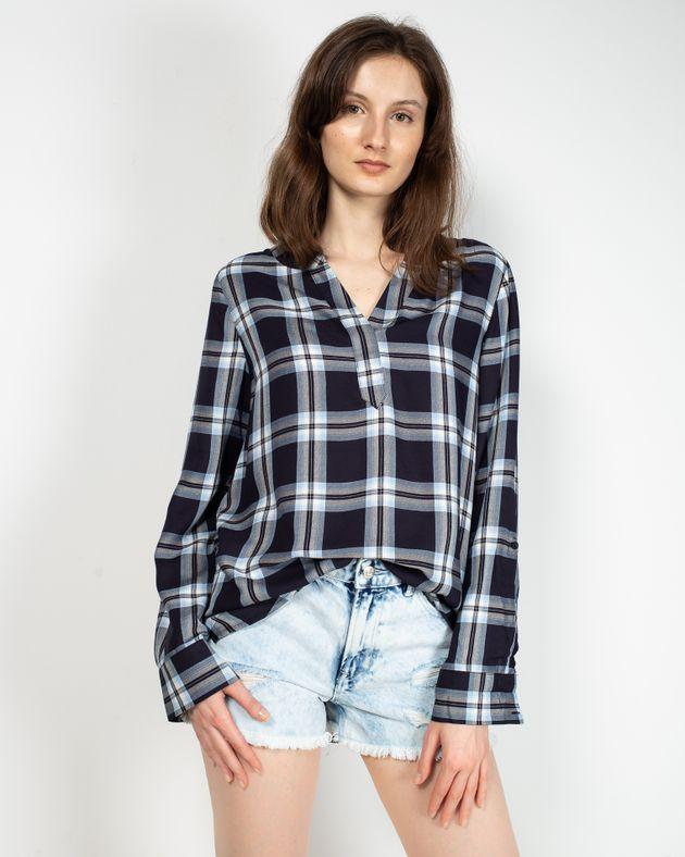 Bluza-casual-in-carouri-cu-maneca-lunga-ajustabila