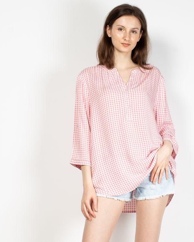 Bluza-in-carouri-cu-maneca-trei-sferturi-ajustabila-si-nasturi