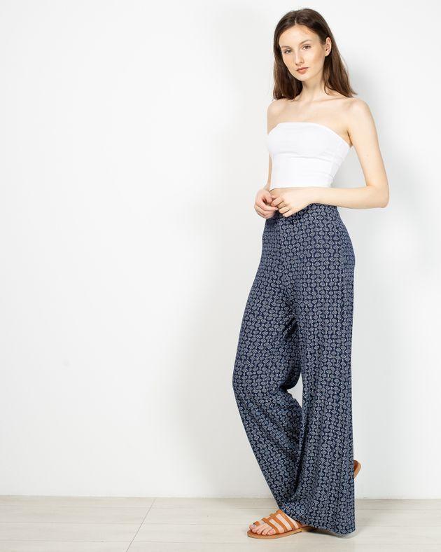 Pantaloni-cu-imprimeu-si-talie-inalta-elastica