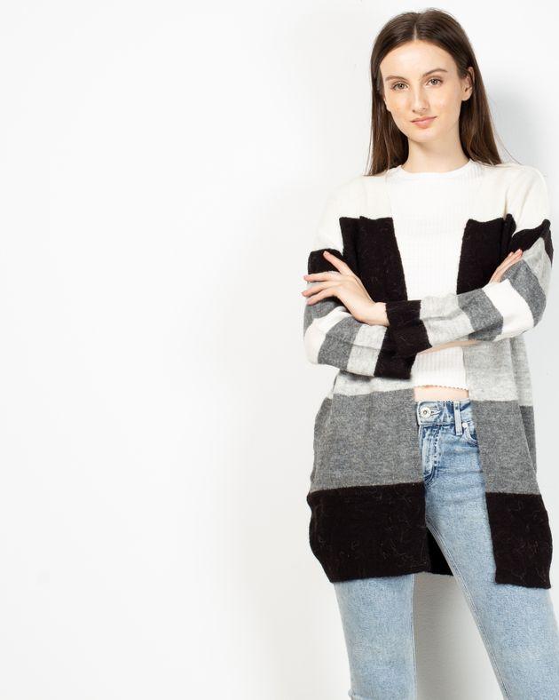 Cardigan-tricotat-cu-dungi-si-maneca-lunga