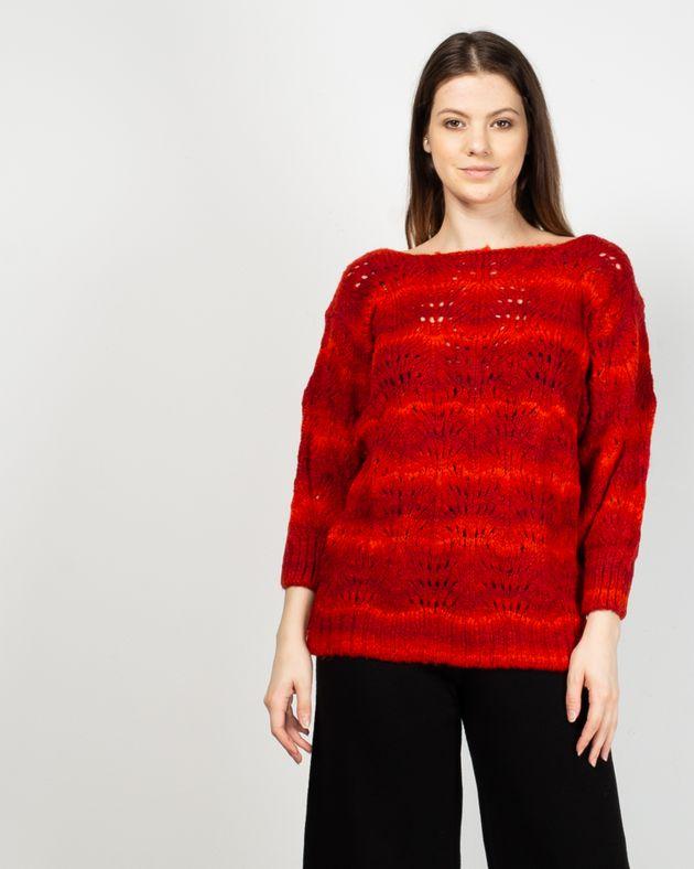 Pulover-tricotat-cu-maneca-trei-sferturi