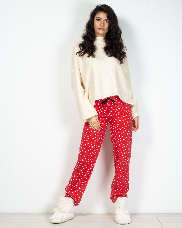 Pantaloni-de-pijama-din-bumbac-cu-buline